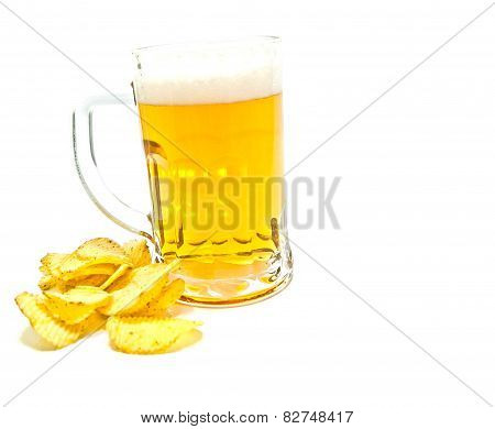 Beer And Ruffles Chips On White