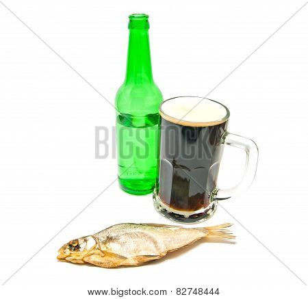 Salted Fish And Glass Of Beer On White
