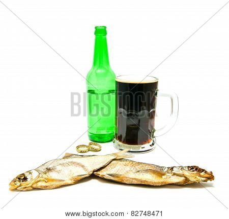 Glass Of Beer And Salted Fishes On White