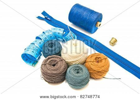 Blue Meter And Different Balls Of Yarn
