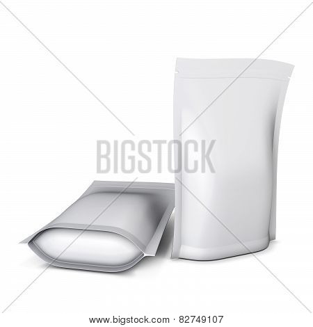 Two Blank Stand Up Pouch Foil Or Plastic Packaging With Zipper