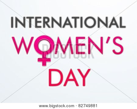 International Women's Day celebration poster or banner design with pink female symbol on grey background.