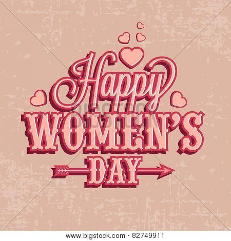 International Women's Day celebration greeting card design with hearts on grungy background.