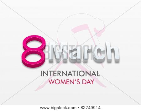 International Women's Day celebration with 3D text 8 March and sketch of young girl on grey background.