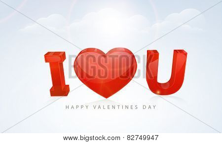 Glossy 3D red text I Love You with heart shape on cloudy background for Happy Valentines Day celebrations.