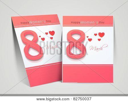 Elegant greeting card design for International Women's Day celebration with stylish text 8 and hearts on stylish background.