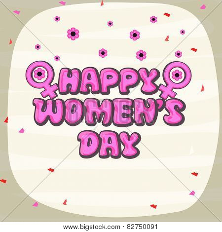 Elegant greeting card design with pink text International Women's Day and female symbol on flowers decorated background.