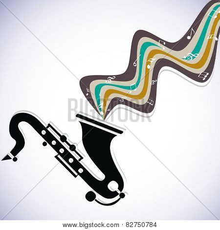 Black and white saxophone with musical notes and waves on stylish background.