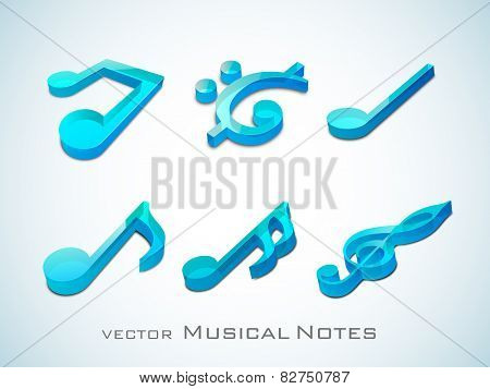 Shiny 3D musical notes in blue on sky blue background.