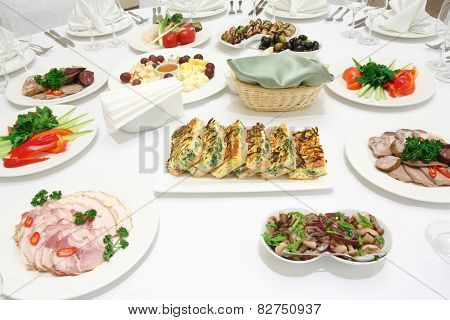 Catering - Served Table With Various Cold Appetizers