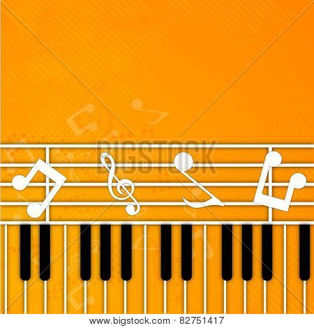 Musical notes with piano keyboard on seamless yellow background.