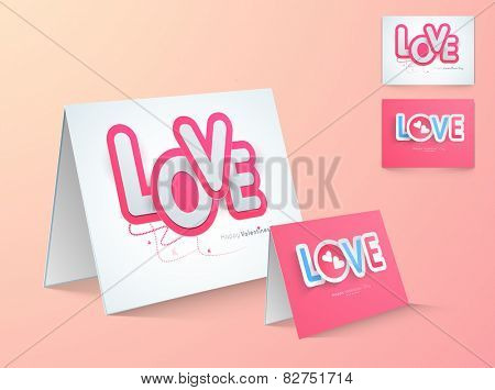 Glossy greeting card with stylish text Love for Happy Valentines Day celebration.