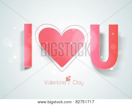 Happy Valentine's Day celebration with pink paper text I Love You on shiny sky blue background.