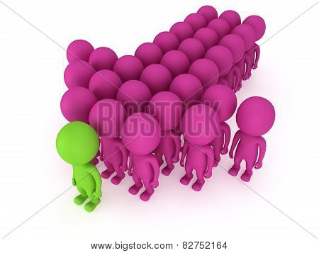 Group Of Stylized People Stand On White