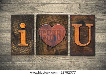 I Heart You Wooden Letterpress Concept