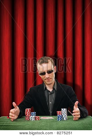 man playing cards