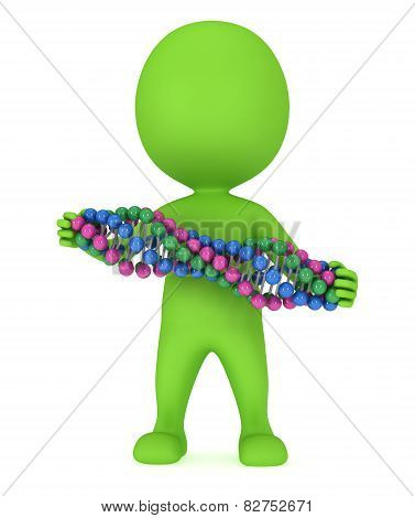 3D Man With Dna Chain On White.