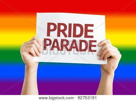 Pride Parade card with Rainbow flag background