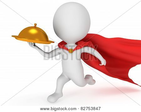 Brave Superhero Waiter With Gold Tray