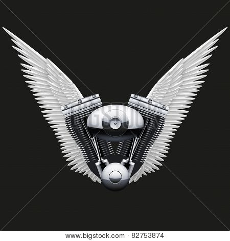 Symbol of motorcycle engine with White open wings