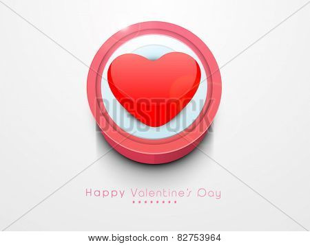 Red glossy heart for Happy Valentine's Day celebration on white background.