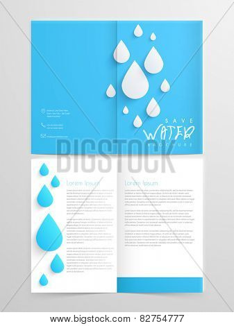 Creative two page brochure, flyer or template design in blue and white color for save water concept.