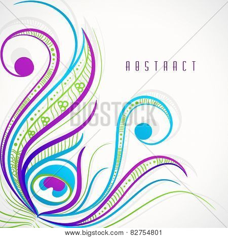 Colorful stylish floral design of peacock feather on abstract background.