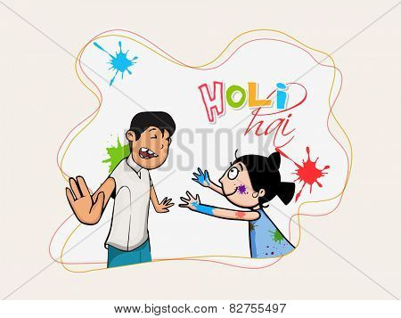 Indian festival, Holi celebration with illustration of cute little kids playing color and Hindi text Holi Hai (Its Holi).