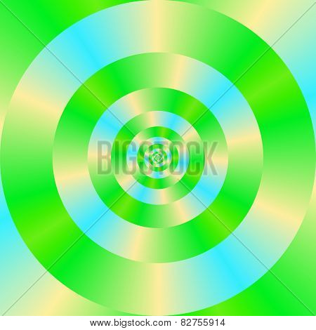 Green Blue And Yellow Concentric Circles