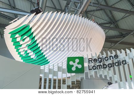 Regione Lombardia Logo At Bit 2015, International Tourism Exchange In Milan, Italy