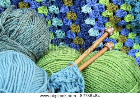 Yarn crafts, wool in blue and green
