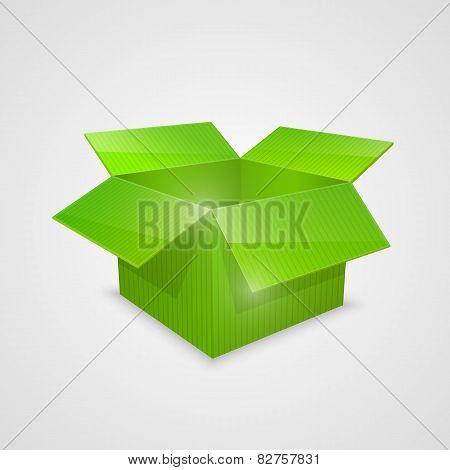 Color vector open box. green