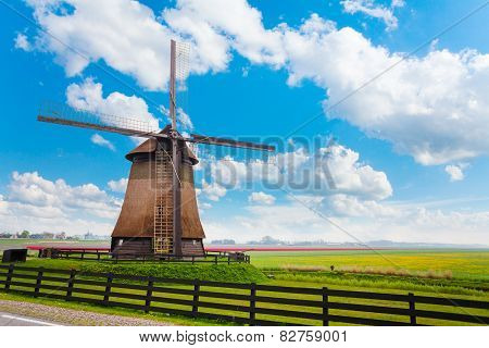 Windmill in Molendjik Neterlands with meadow