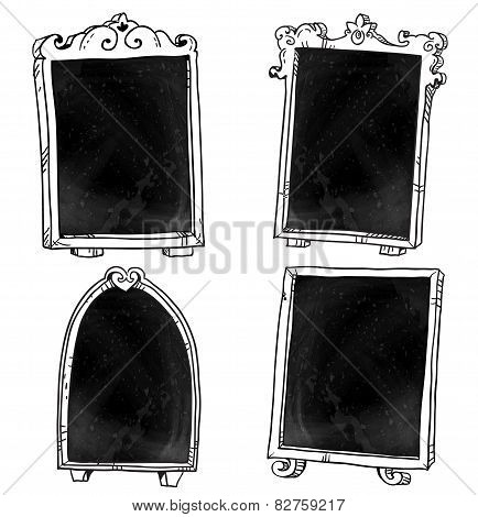 Set of chalkboards. Hand drawn. Vector signboard.