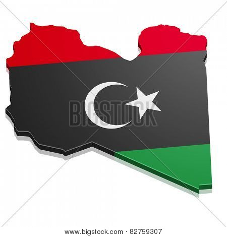 detailed illustration of a map of Libya with flag, eps10 vector