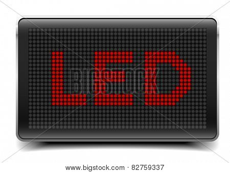 detailed illustration of a LED Panel with LED letters, eps10 vector