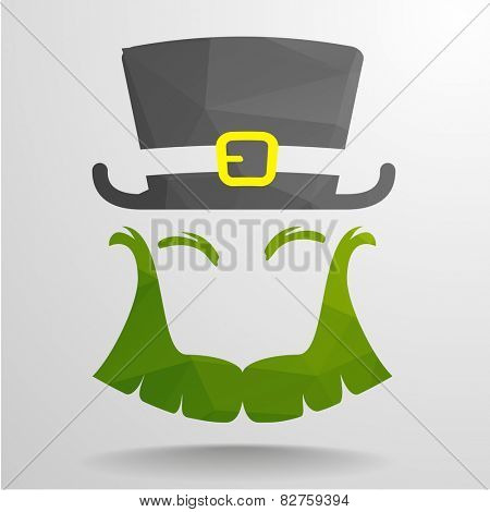 detailed illustration of an abstract polygon Leprechaun, eps10 vector