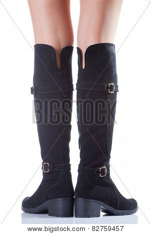 high suede boots with beautiful legs