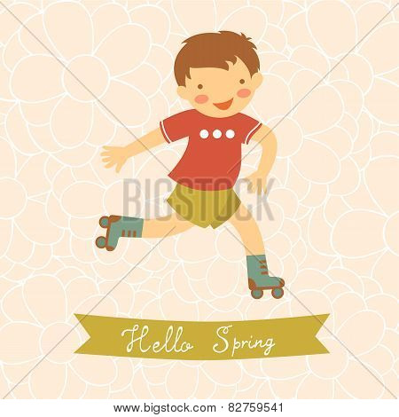Hello spring card with cute little boy