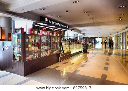 SHENZHEN, CHINA - FEBRUARY 04, 2015: Pacific Coffee interior. Pacific Coffee Company is a Pacific Northwest U.S.- style coffee shop group originating from Hong Kong