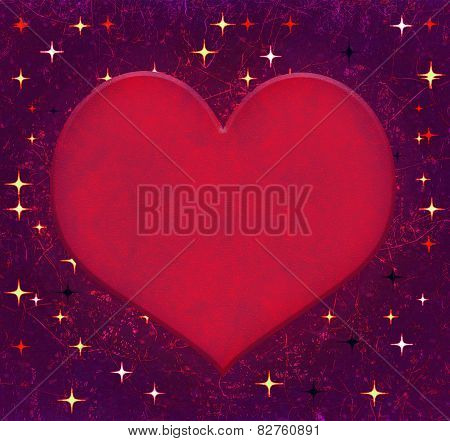 Heart Shaped With Stars Backgroun