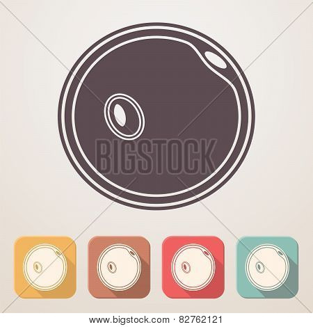 Egg Cell Flat Icon Set In Color Boxes With Shadow