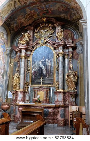 GRAZ, AUSTRIA - JANUARY 10, 2015: Altar of Saint John of God in Barmherzigenkirche church in Graz, Styria, Austria on January 10, 2015.