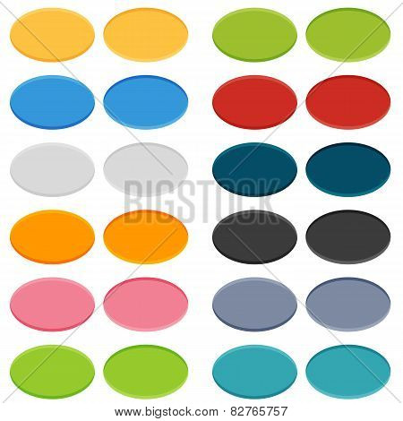 Big Set Of 16 Oval Buttons In 2 Positions