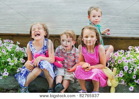 Children Eating Easter Candy Outside