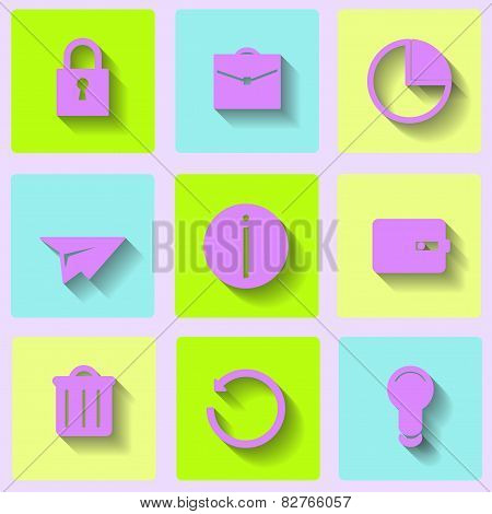Internet icons on a colorful background. vector