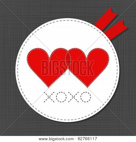 xoxo red hearts in love lovely sewed romantic Valentines Day card on gray