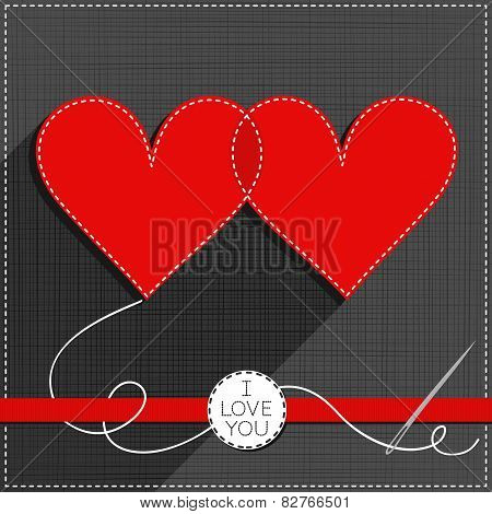 two hearts in love Valentines Day card with ribbon and badge