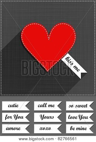 lovely sewed romantic Valentines Day card with text set on gray