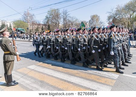 Cadets of police academy marching on parade